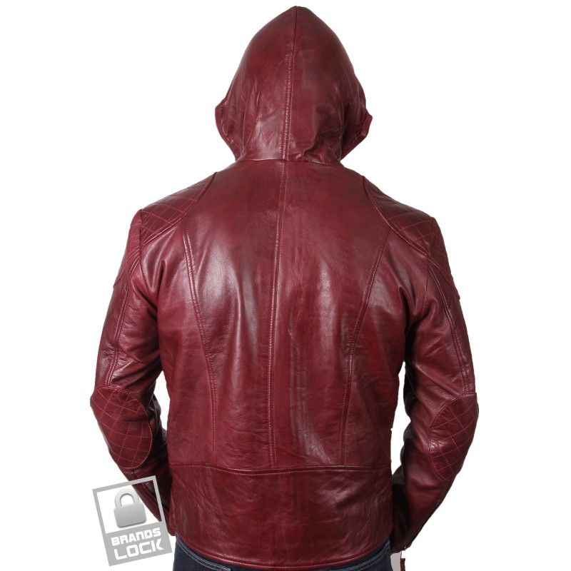 Burgundy leather bomber jacket mens