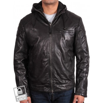 Men's Black Leather Bomber Jacket - Majento