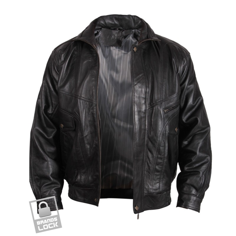 Menu0026#39;s Black Leather Bomber Jacket - Marvel