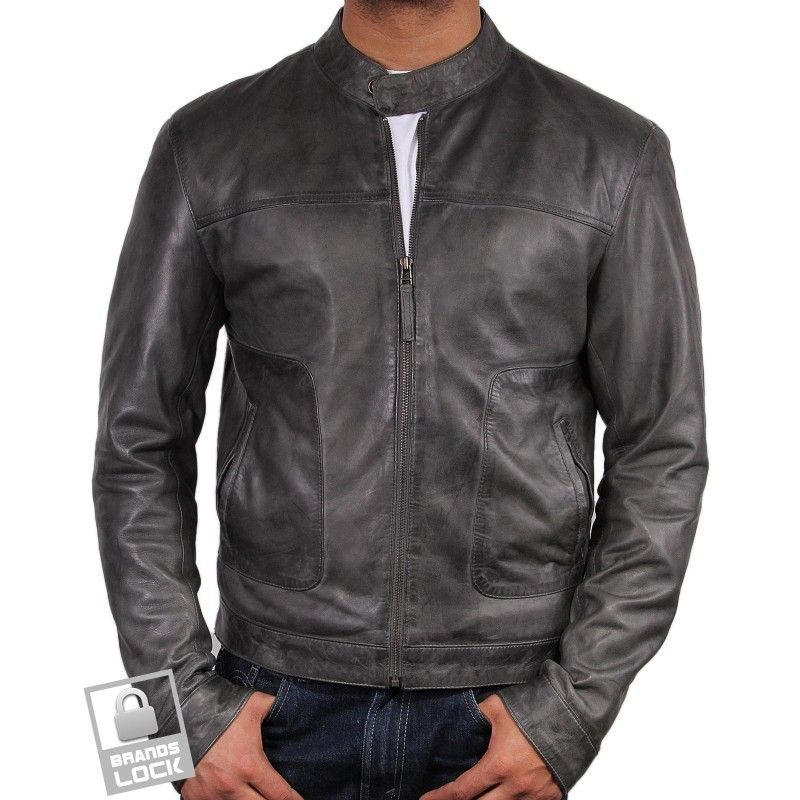 Men's Grey Leather Bomber Jacket - Mushy