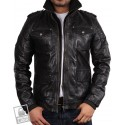 Men's Black Leather Bomber Jacket - Warwick