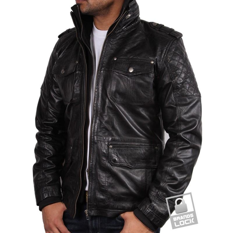 Black leather bomber jacket mens