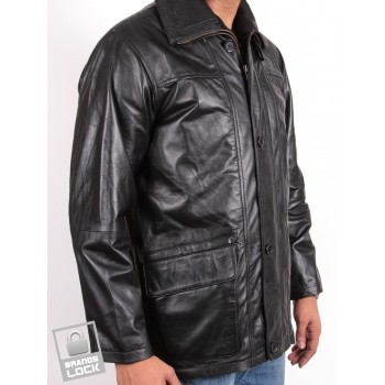 Men's Black Leather Jacket - Jazz