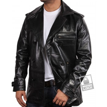Men's Black Leather Jacket - Treasure