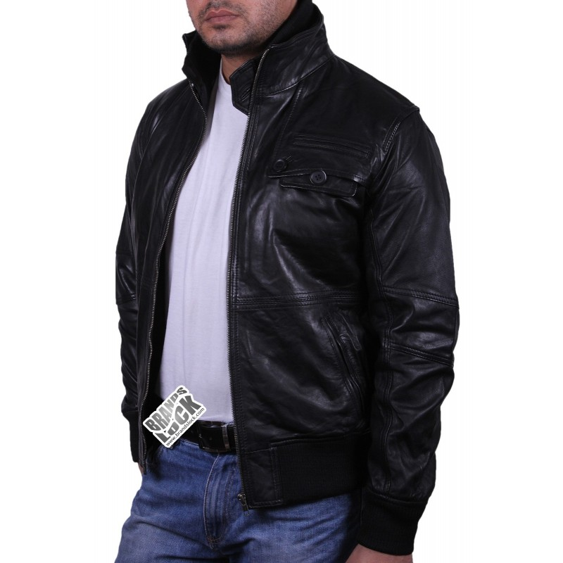 Black Leather Bomber Jacket - Falcon