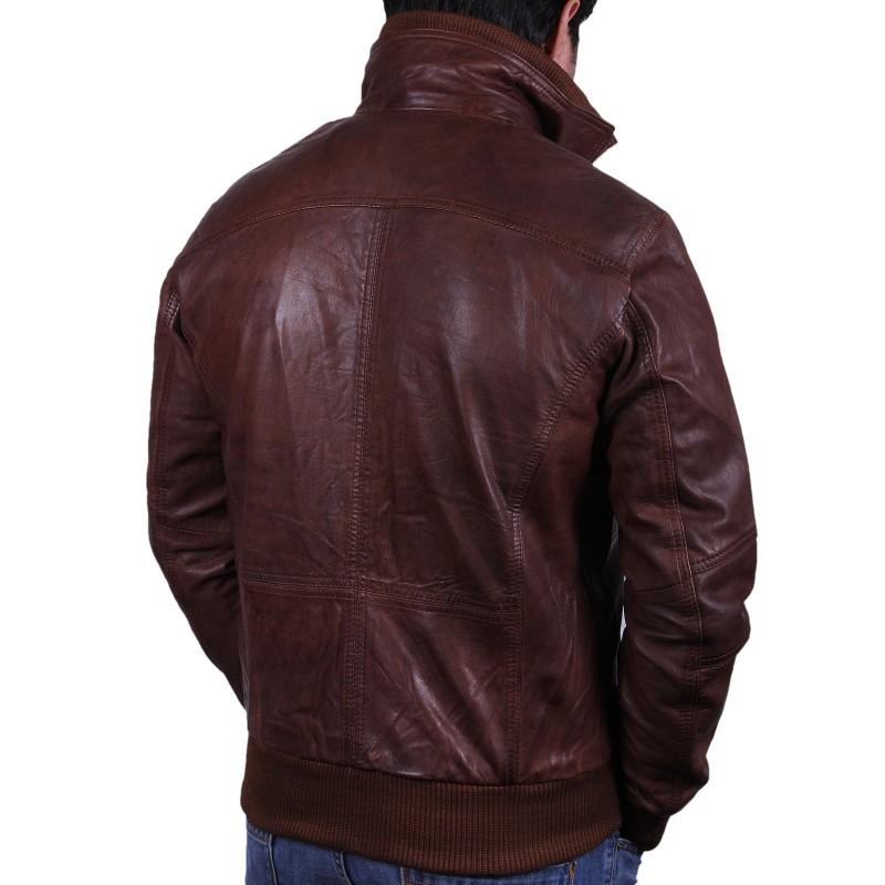 Brown leather aviator jacket men