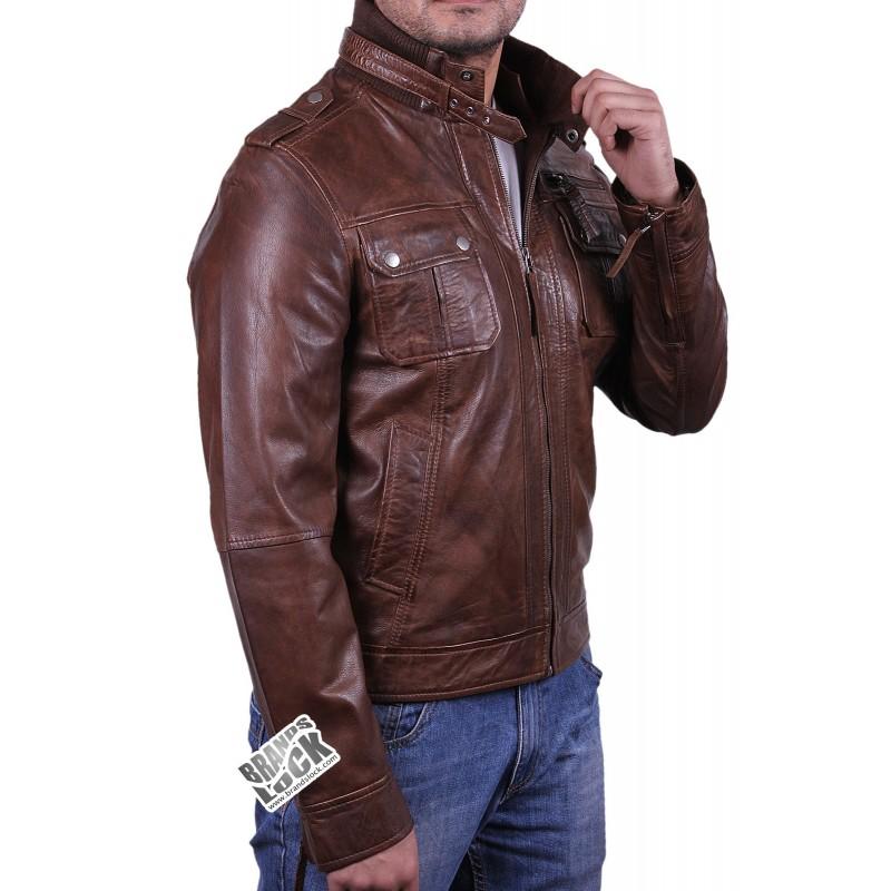 Mens Burgundy Leather Jacket