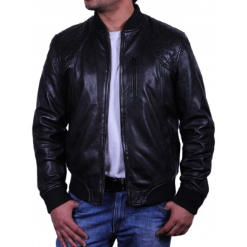 Men's Leather Bomber Jacket - Detroit