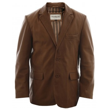 Men's Tan Leather Blazer Jacket- Conrad