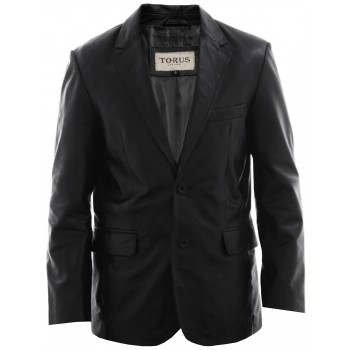 Men's Black Leather Blazer Jacket - Conrad