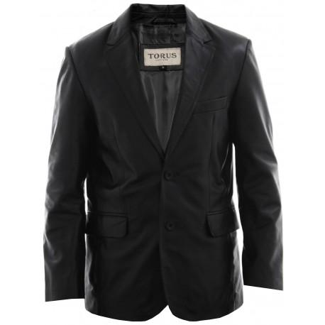 Men's Black Leather Blazer - Conrad