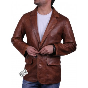 Men's Brown Leather Blazer Jacket - Nicolas