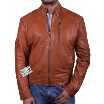 Men's Leather Biker Jacket - Copper