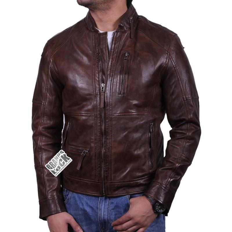 Boys leather biker jacket