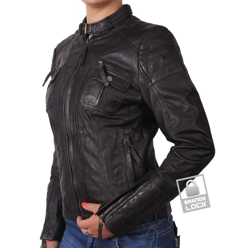 Womens black biker leather jacket