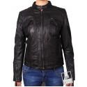 Women Black Leather Biker Jacket _ Jessie