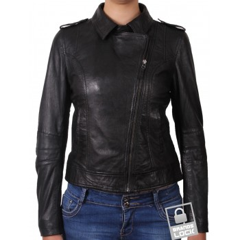 Women Black Leather Biker Jacket _ Haven