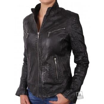 Ladies Croc Black Leather Biker Jacket - Ciara