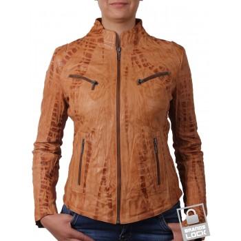 Ladies Croc Tan Leather Biker Jacket - Ciara
