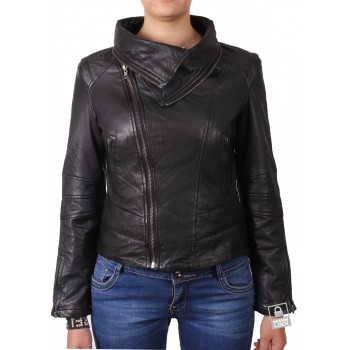 Women Black Leather Biker Jacket - Charm