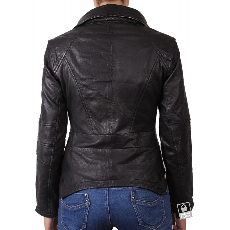 Women Black Leather Biker Jacket Charm