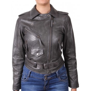 Ladies Leather Biker Jacket - Gemma