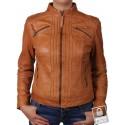Women Tan Leather Biker Jacket - Sophie