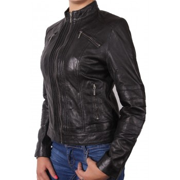 Women Black Leather Biker Jacket - Sophie