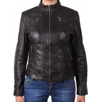 Women Black Leather Biker Jacket - Sophie