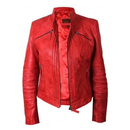 Ladies Red Leather Biker Jacket - Sophie