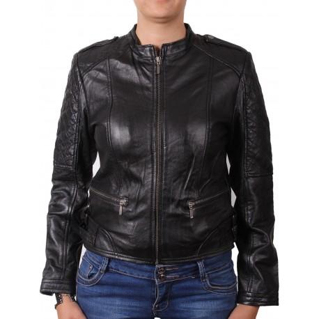 Ladies Black Leather Biker Jacket - Madisson