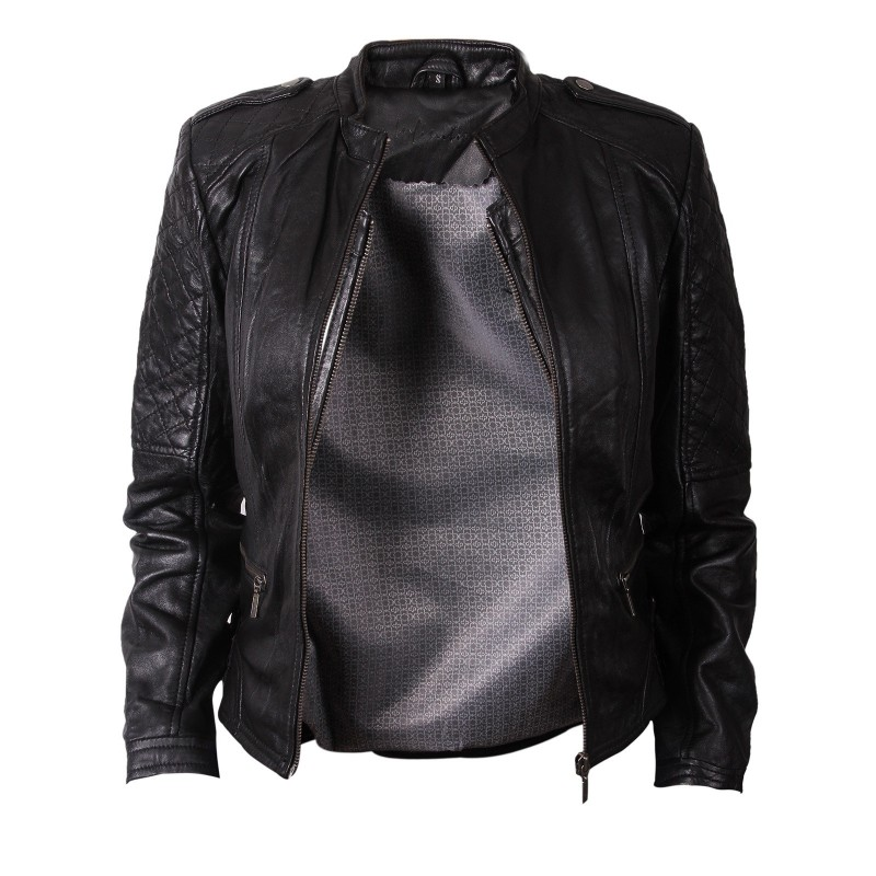 Women Black Leather Biker Jacket - Madisson