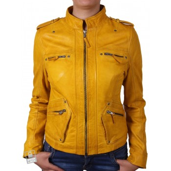 Women Yellow Leather Biker Jacket - Malibu