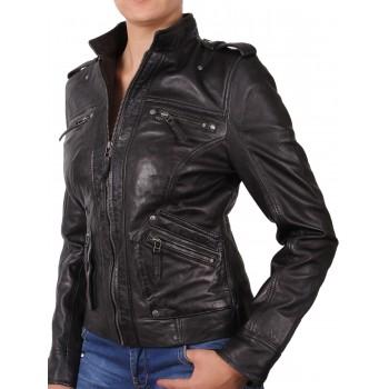 Women Black Leather Biker Jacket - Malibu