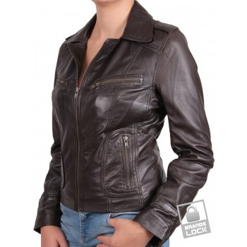 Women Brown Leather Biker Jacket - Kristy