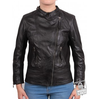 Ladies Leather Biker Jacket - Julia