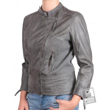 Women Leather Biker Jacket Grey - Julia