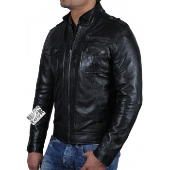 Men's Black Leather Biker Jacket -Toredo