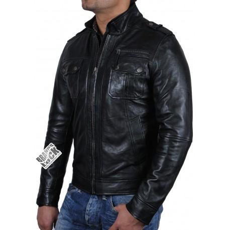 Men's Black Leather Biker Jacket - Toredo