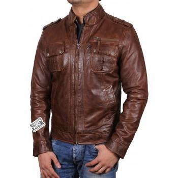 Men's Brown Leather Biker Jacket - Toredo