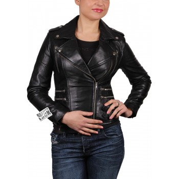 Women Black Leather Biker Jacket - Moss