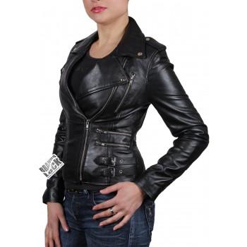 Women Black Leather Biker Jacket - Moss
