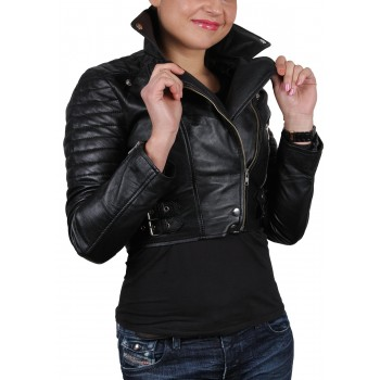 Women Black Leather Biker Jacket - Sixty