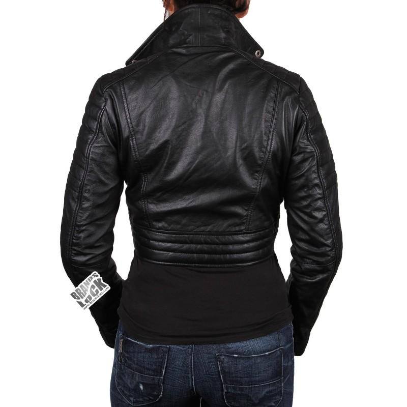 888d7b633cacf ... Ladies Black Leather Biker Jacket - Sixty ...