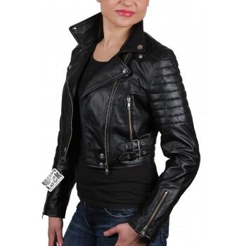 Women Black Leather Biker Jacket - Sixty