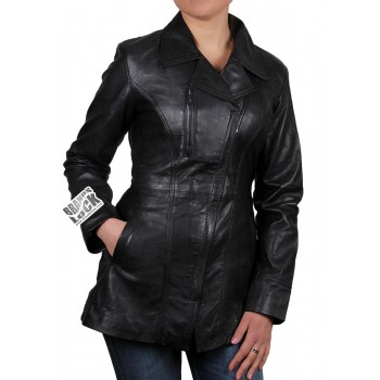 Ladies Black Leather Biker Jacket - Mellisa