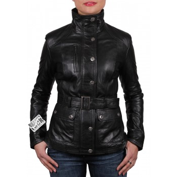 Women Black Leather Biker Jacket - Silic