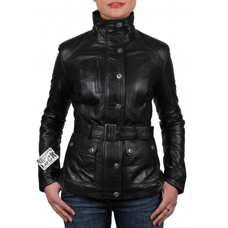 Ladies Black Leather Biker Jacket - Silic