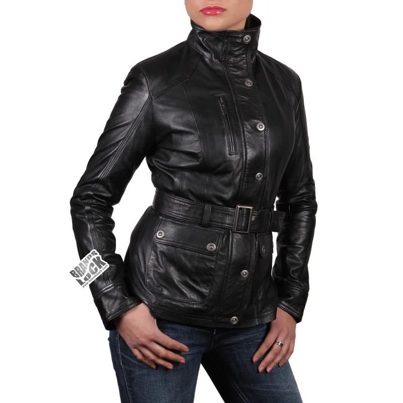 Black leather biker jackets for women