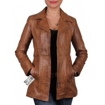 Ladies Tan Leather Biker Jacket - Mellisa
